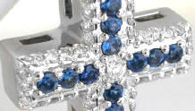 Round Sapphire and Diamond Crosses in 14k white gold