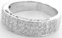 3 Row Pave Diamond Wedding Band in 14k white gold