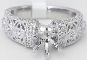 Antique Floral Filigree 0.37 ctw Diamond Engagement Semi-Mount