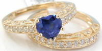 Heart Shaped Sapphire Antique Style Diamond Engagement Set in 14k gold