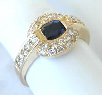 East West Oval Sapphire and Pave Diamond Ring in 14k