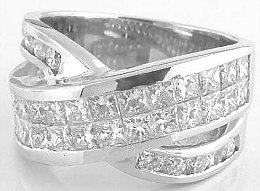 3.15 ctw Princess Cut and Round Diamond Ring in 18k white gold
