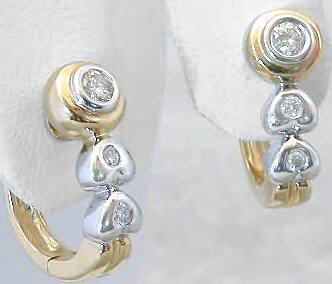 0.21 carat Petite Bezel Set Diamond Earrings with Heart Motif in two-tone gold
