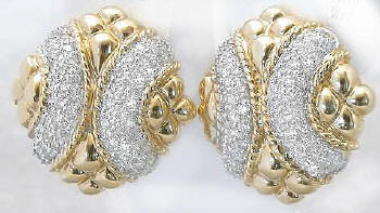 Quilted Diamond Earrings in 14k Yellow Gold