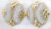 Quilted Pave Diamond Earrings in 14k yellow gold