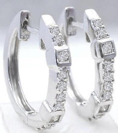 0.35 ctw Diamond Hoop Earrings in 14k White Gold