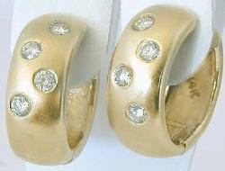 0.55 ctw Burnished Diamond Hoop Earrings in 14k yellow gold - Satin Finished
