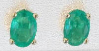 Oval Emerald Solitaire Earrings in 14k yellow gold