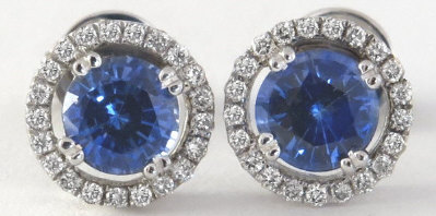 1.45 ctw Sapphire and Diamond Earrings in 14k white gold