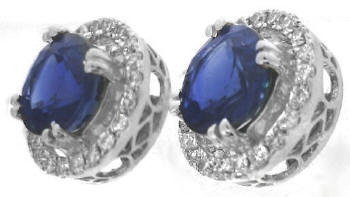 Rich Blue Sapphire and Diamond Halo Earrings in 14k white gold