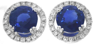 Rich Blue Sapphire and Diamond Earrings in 14k white gold