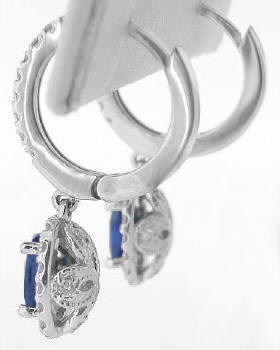 Blue Sapphire and Diamond Dangle Earrings in white gold