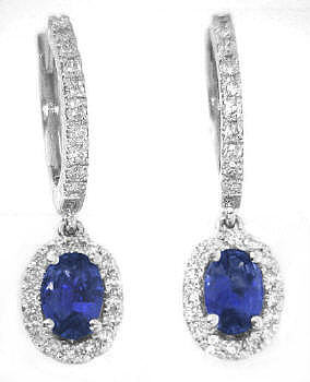 1.50 ctw Oval Sapphire and Diamond Drop Earrings in white gold