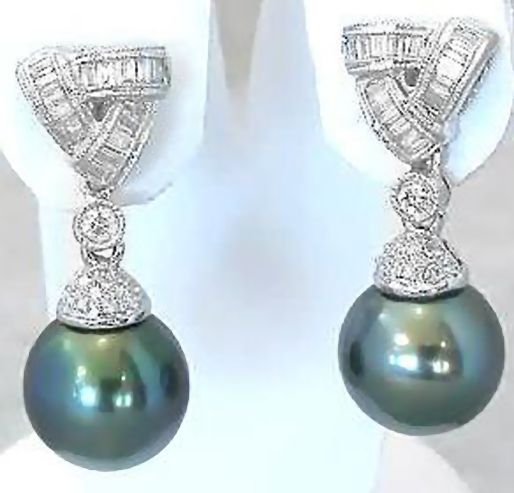Cultured Tahitian Pearl and Baguette Diamond Earrings in 18k white gold