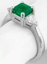 Square Cut Genuine Colombian Emerald and Trillion Diamond Ring in 14k white gold