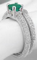 Natural Round Emerald Diamond Engagement Ring in 14k white gold