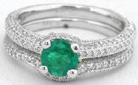 Genuine Round Emerald Diamond Engagement Ring and Band in 14k white gold