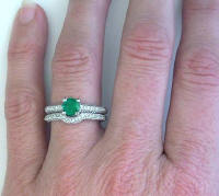 Real Round Emerald and Diamond Engagement Ring in 14k white gold