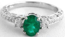 Antique Inspired 1.23 ctw Emerald and Diamond Ring in 14k white gold