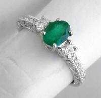 Antique Emerald Diamond Engagement Rings in 14k white gold