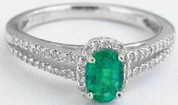 0.64 ctw Emerald  Diamond Ring in 14k white gold