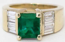 2.82 ctw Emerald and Baguette Diamond Ring in 14k yellow gold