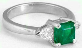 Three Stone Colombian Emerald and Trillion Diamond Ring in 14k white gold