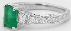 Emerald and Baguette Diamond Ring in 14k white gold