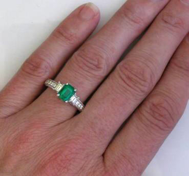 Genuine Emerald Engagement Ring with Baguette Diamonds in white