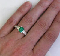 Natural Emerald Ring with Baguette Diamonds in 14k white gold