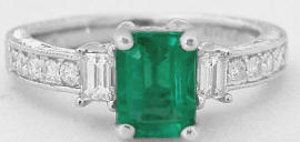 1.35  ctw Emerald and Baguette Diamond Ring in 14k white gold