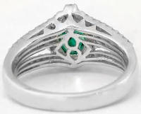 Emerald and Three Row Split Band Diamond Ring in 14k white gold