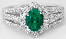 1.46 ctw Emerald and Three Row Diamond Ring in 14k white gold