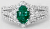 Oval Emerald and Three Row Split Shank Diamond Ring in 14k white gold