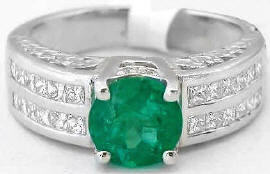1.91 ctw Round Emerald and Princess Cut Diamond Ring in 18k white gold