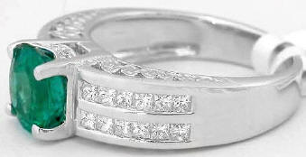 Genuine Round Emerald and Princess Cut Diamond Ring in 18k white gold