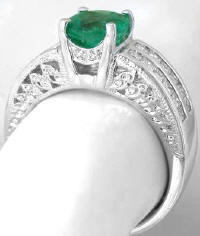 Genuine Round Emerald and Double Row Princess Cut Diamond Ring in 18k white gold