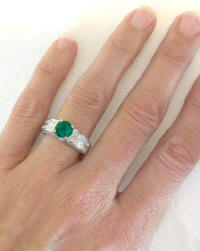 Natural Mined Round Emerald and Princess Cut Diamond Ring in 18k white gold