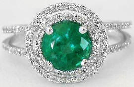 1.42 ctw Emerald and Double Halo Diamond Ring in 14k white gold
