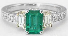 1.36 ctw Emerald and Baguette Diamond Ring in 14k white gold