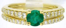 0.81 ctw Round Emerald Diamond Ring in 14k yellow gold
