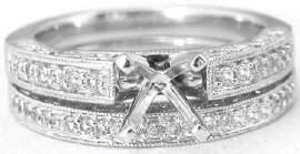Diamond Semi Mount and Matching Wedding Band