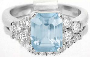 Emerald Cut Aquamarine Engagement Ring and Matching Band in 14k white gold