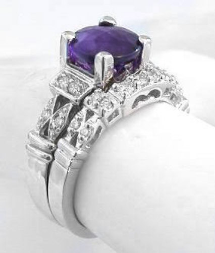 Round Amethyst Diamond Engagement Ring With Matching Contoured Band