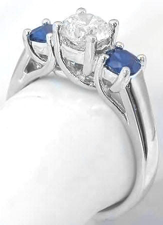 bands wedding diamond alternating sapphire blue ring band