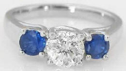 Ideal Cut Diamond and Sapphire Engagement Ring