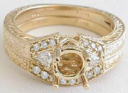 Diamond Semi Mount and Matching Wedding Band in 14k gold with Engraving
