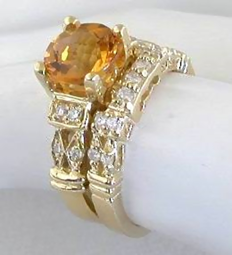 Citrine Engagement Ring In 14k Yellow Gold With 3 Matching