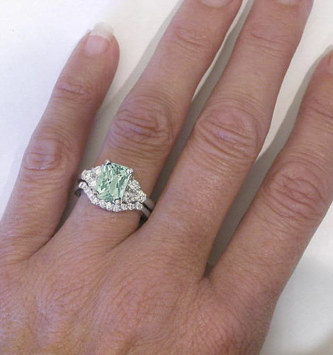 Radiant Green Amethyst And Diamond Engagement Ring In 14k White Gold GR 2156