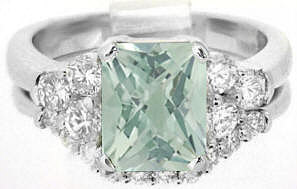 9x7mm Prasiolite (Green Amethyst) and Diamond Engagement Ring in 14k white gold